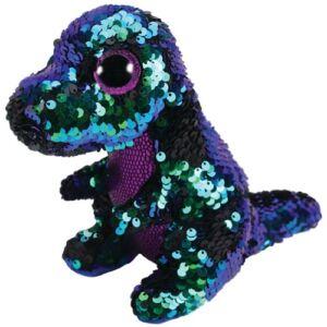 BOOS Flippables plüss figura CRUNCH, 15 cm - flitteres zöld-lila dinoszaurusz
