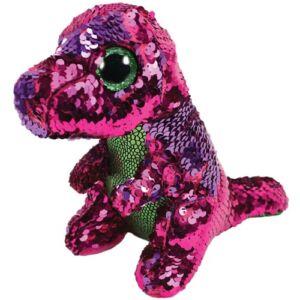 BOOS Flippables plüss figura STOMPY, 15 cm - flitteres zöld-rózsaszín dinoszaurusz