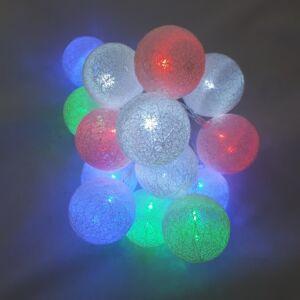 Cérnagömb füzér, színes, elemes led világítással, 14db