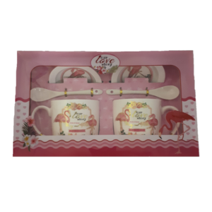 Flamingó bögre, 3dl, 2db-os szett,(2*bögre,kanál,porcelán fedő)