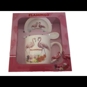 Flamingó COUPLE 1db-os bögre szett, (bögre, kanál, porcelán fedő)