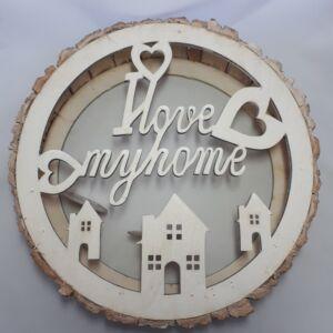 Gyertyatartó I LOVE MY HOME, design fa kerettel, átmérő 33cm