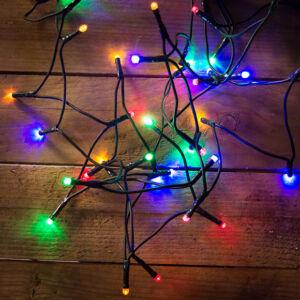 Dekortrend beltéri LED fényfüzér 120db Színes LED, 9,6m zöld kábel