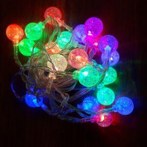 Dekor 20db-os led fényfüzér, színes buborék, elemes, 2,75m