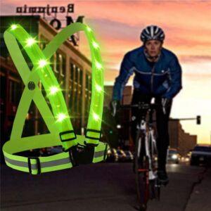 LED Kerékpáros-Motoros, Fényvisszaverő Heveder, Sárga, tölthető akku
