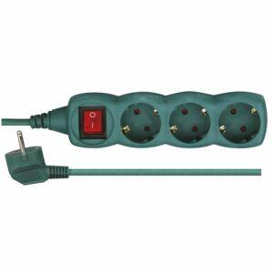 Hosszabbító 3aljzat 3M, kapcsoló, zöld