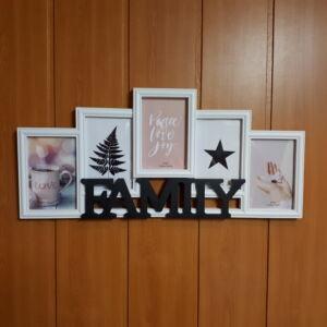 Képkeret 55*25cm, FAMILY, 5 kép, fehér-fekete