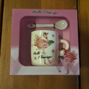 Bögre szett, Hello Flamingó, 2,5dl + kanál