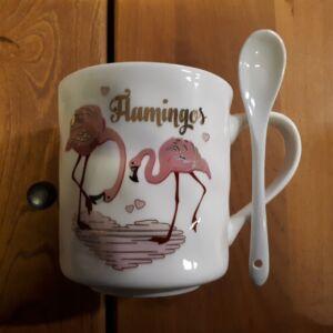 Flamingó 3,5dl bögre + kanál