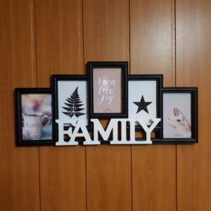 Képkeret 55*25cm, FAMILY, 5 kép, fekete-fehér