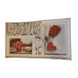 Love képkeret 2 fotóval 21x37cm, fehér v. fekete