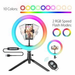 Blitzwolf BW-SL5 asztali LED RGB 25cm körfény és tripod, ringlight telefontartóval fekete színben