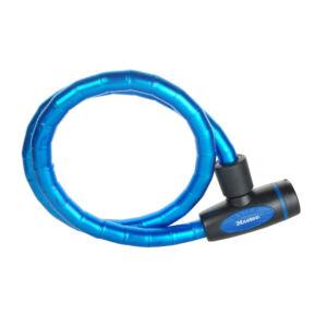 1M x 18mm megerősített kábelzár-vinil borítás-4db kulccsal-vegyes színek:fekete,kék,piros,zöld