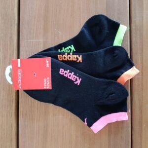 Kappa Női rövid szárú zokni, fekete-színes nyak, 36-41, 3db-os