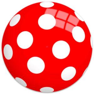 Pöttyös labda, lakozott 22cm, piros és kék
