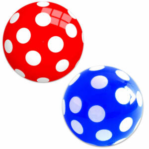 Pöttyös labda, lakkozott 28cm, piros és kék