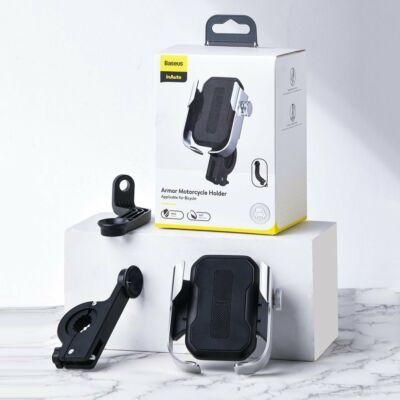 Baseus Armor biztonságos telefontartó Motorkerékpárra, rollerre, biciklire felszerelhető, ezüst (SUKJA-0S)