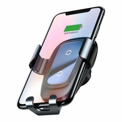 Baseus Metal Gravitációs vezeték nélküli QI töltő, telefontartó – fekete, WXYL-B0A