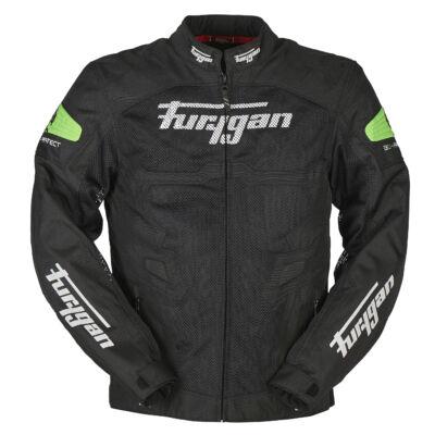 Furygan Atom férfi nyári motoros hálós kabát, Fekete-Fluo green, Airbag ready