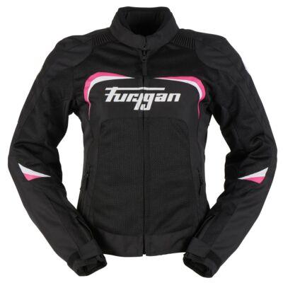 Furygan CYANE női nyári motoros hálós kabát, Fekete-fehér-pink, Airbag ready