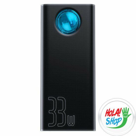Baseus Amblight Power Bank 30000mAh 33W 4 X USB / Type-C / Micro-USB / Lightning külső akkumulátor fekete (PPLG-01)