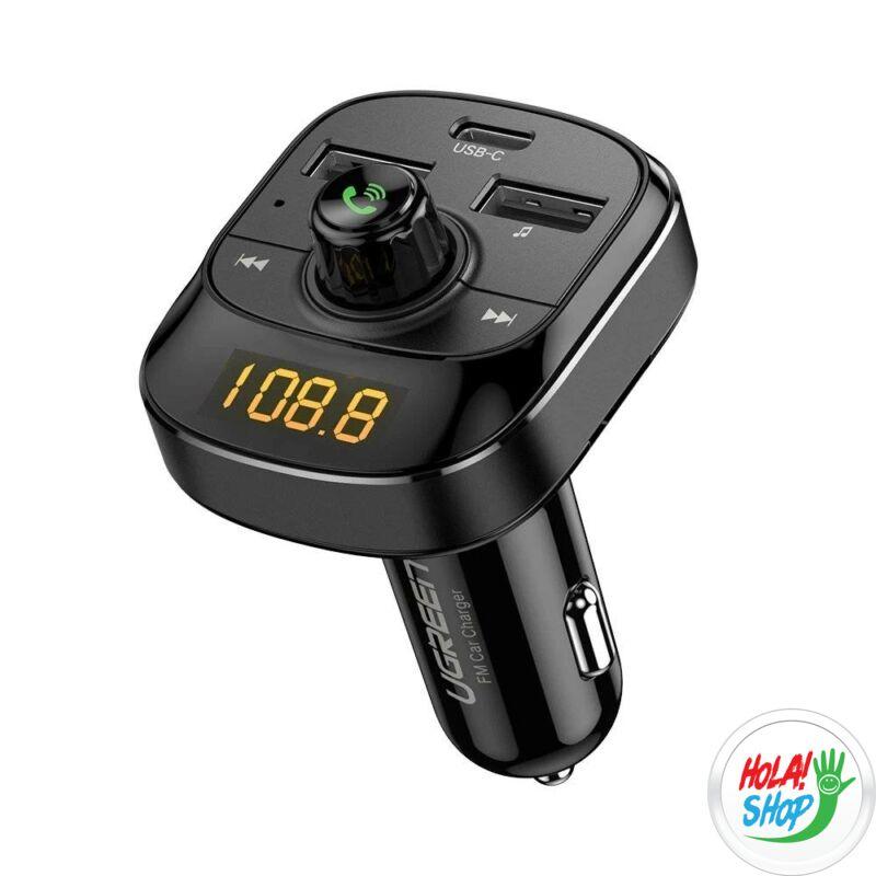 Ugreen ED040 - szivargyújtóba dugható autós USB töltő és FM transzmitter, BT 5.0