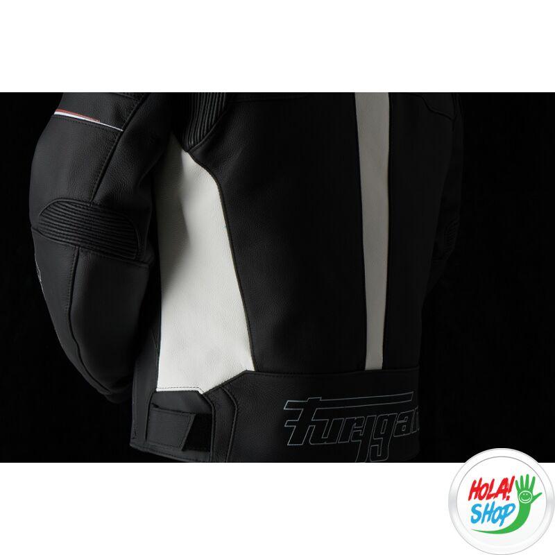 Furygan Nitros motoros bőrkabát, fekete-fehér-piros, Airbag ready