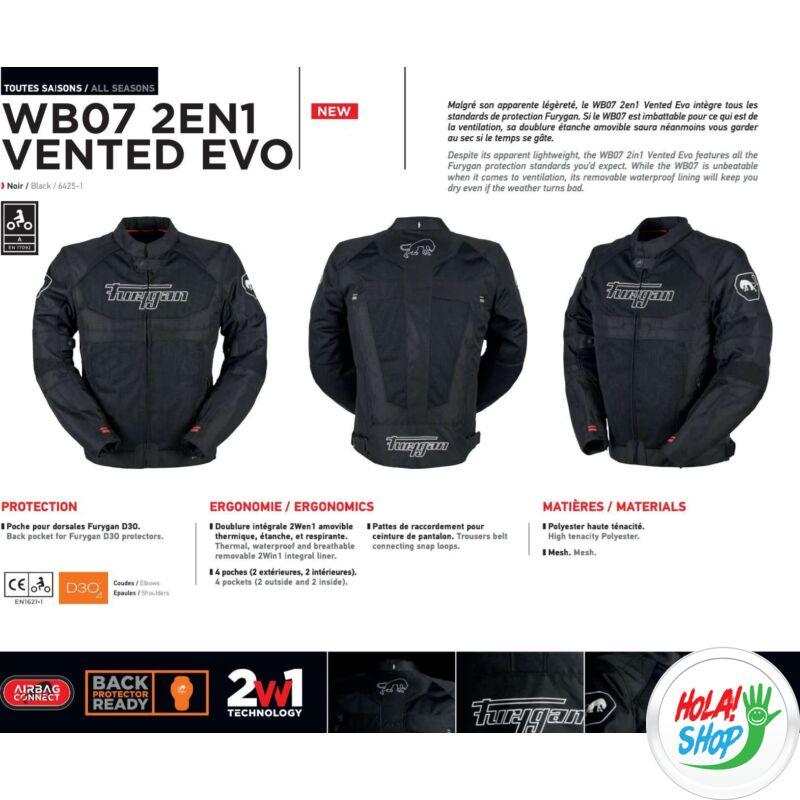 Furygan WB07 2in1 Vented Evo nyári motoros hálós kabát, fekete, Airbag ready